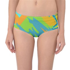 Skatepark Seaworld Fish Mid Waist Bikini Bottoms by Mariart