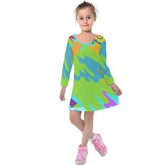 Skatepark Seaworld Fish Kids  Long Sleeve Velvet Dress by Mariart
