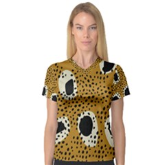 Surface Patterns Spot Polka Dots Black Women s V Neck Sport Mesh Tee by Mariart