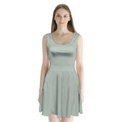 Ash Gray Solid Color  Split Back Mini Dress  by SimplyColor