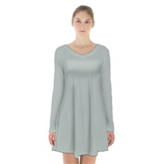 Ash Gray Solid Color  Long Sleeve Velvet V Neck Dress