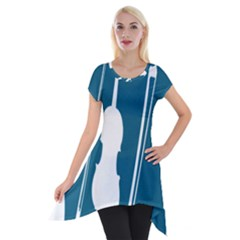 Violin Music Blue Short Sleeve Side Drop Tunic by Mariart