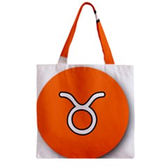 Taurus Symbol Sign Orange Zipper Grocery Tote Bag by Mariart