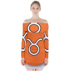 Taurus Symbol Sign Orange Long Sleeve Off Shoulder Dress by Mariart