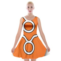 Taurus Symbol Sign Orange Velvet Skater Dress by Mariart