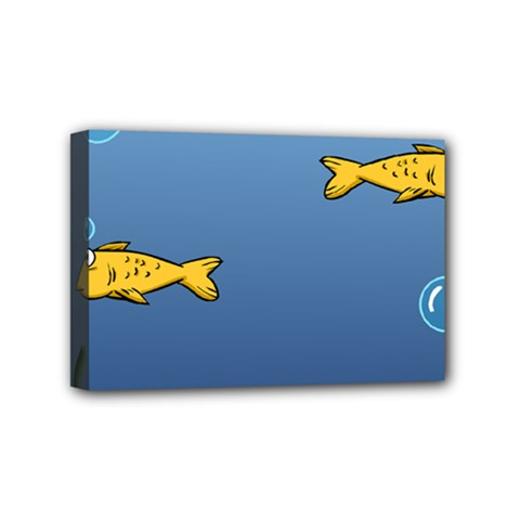 Water Bubbles Fish Seaworld Blue Mini Canvas 6  X 4  by Mariart