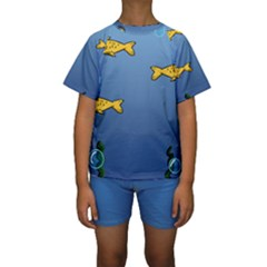 Water Bubbles Fish Seaworld Blue Kids  Short Sleeve Swimwear by Mariart