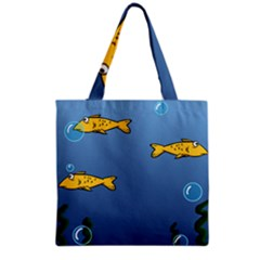 Water Bubbles Fish Seaworld Blue Grocery Tote Bag by Mariart