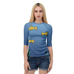 Water Bubbles Fish Seaworld Blue Quarter Sleeve Tee