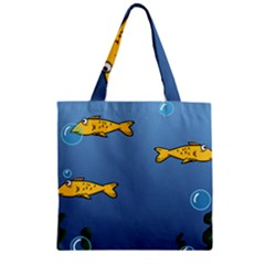 Water Bubbles Fish Seaworld Blue Zipper Grocery Tote Bag by Mariart
