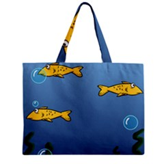 Water Bubbles Fish Seaworld Blue Zipper Mini Tote Bag by Mariart