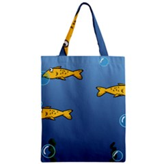 Water Bubbles Fish Seaworld Blue Zipper Classic Tote Bag by Mariart