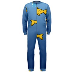 Water Bubbles Fish Seaworld Blue Onepiece Jumpsuit (men)  by Mariart