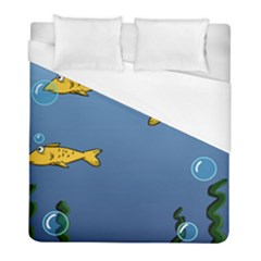 Water Bubbles Fish Seaworld Blue Duvet Cover (full/ Double Size) by Mariart