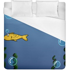 Water Bubbles Fish Seaworld Blue Duvet Cover (king Size) by Mariart
