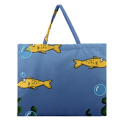 Water Bubbles Fish Seaworld Blue Zipper Large Tote Bag by Mariart