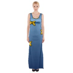Water Bubbles Fish Seaworld Blue Maxi Thigh Split Dress