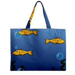 Water Bubbles Fish Seaworld Blue Medium Tote Bag by Mariart