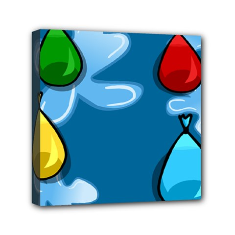 Water Balloon Blue Red Green Yellow Spot Mini Canvas 6  X 6  by Mariart