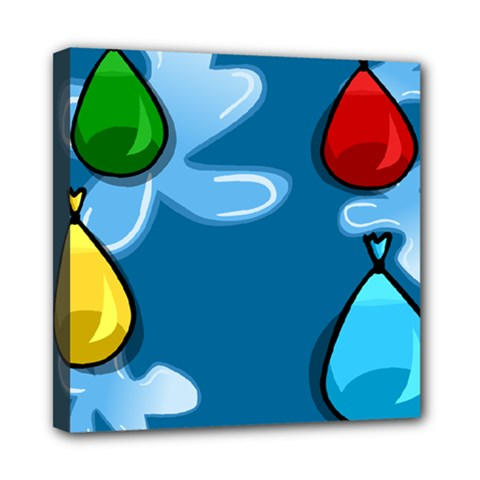 Water Balloon Blue Red Green Yellow Spot Mini Canvas 8  X 8  by Mariart
