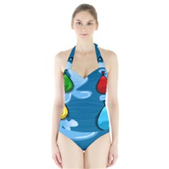 Water Balloon Blue Red Green Yellow Spot Halter Swimsuit by Mariart