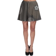 Walls Medallion Floral Grey Polka Skater Skirt by Mariart