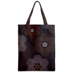 Walls Medallion Floral Grey Polka Zipper Classic Tote Bag by Mariart