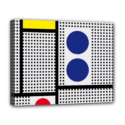 Watermark Circle Polka Dots Black Red Yellow Plaid Deluxe Canvas 20  X 16   by Mariart