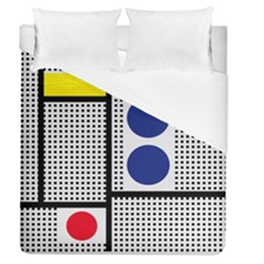 Watermark Circle Polka Dots Black Red Yellow Plaid Duvet Cover (queen Size) by Mariart
