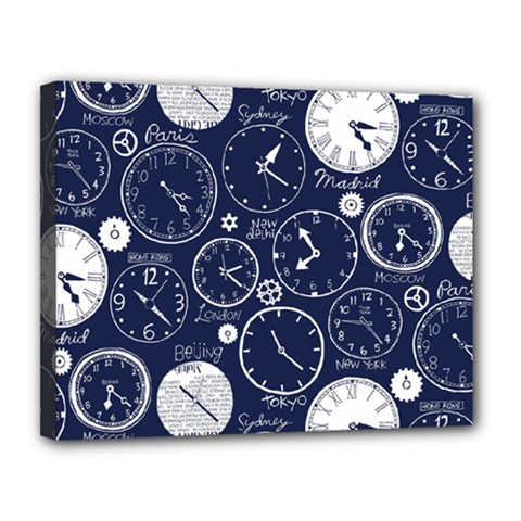Time World Clocks Canvas 14  X 11  by Mariart