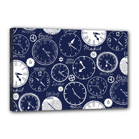 Time World Clocks Canvas 18  X 12  by Mariart