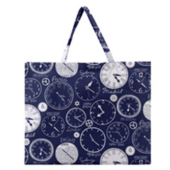 Time World Clocks Zipper Large Tote Bag by Mariart