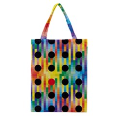 Watermark Circles Squares Polka Dots Rainbow Plaid Classic Tote Bag by Mariart