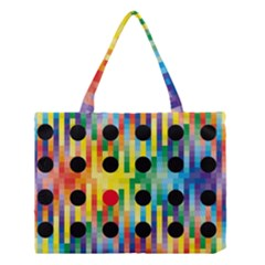 Watermark Circles Squares Polka Dots Rainbow Plaid Medium Tote Bag by Mariart