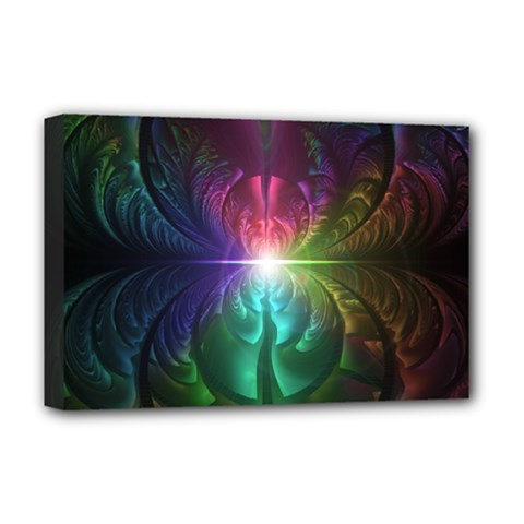 Anodized Rainbow Eyes And Metallic Fractal Flares Deluxe Canvas 18  X 12