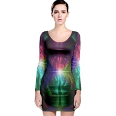 Anodized Rainbow Eyes And Metallic Fractal Flares Long Sleeve Bodycon Dress
