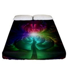 Anodized Rainbow Eyes And Metallic Fractal Flares Fitted Sheet (king Size) by jayaprime