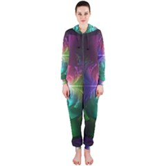 Anodized Rainbow Eyes And Metallic Fractal Flares Hooded Jumpsuit (ladies)  by jayaprime