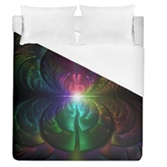 Anodized Rainbow Eyes And Metallic Fractal Flares Duvet Cover (queen Size) by jayaprime