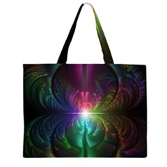 Anodized Rainbow Eyes And Metallic Fractal Flares Zipper Large Tote Bag by jayaprime