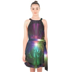 Anodized Rainbow Eyes And Metallic Fractal Flares Halter Collar Waist Tie Chiffon Dress