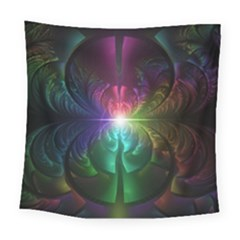 Anodized Rainbow Eyes And Metallic Fractal Flares Square Tapestry (large) by jayaprime