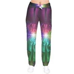 Anodized Rainbow Eyes And Metallic Fractal Flares Drawstring Pants