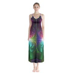 Anodized Rainbow Eyes And Metallic Fractal Flares Button Up Chiffon Maxi Dress