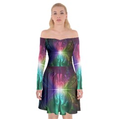 Anodized Rainbow Eyes And Metallic Fractal Flares Off Shoulder Skater Dress