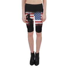 Honor Our Heroes On Memorial Day Cropped Leggings  by Catifornia