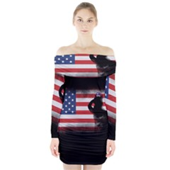 Honor Our Heroes On Memorial Day Long Sleeve Off Shoulder Dress