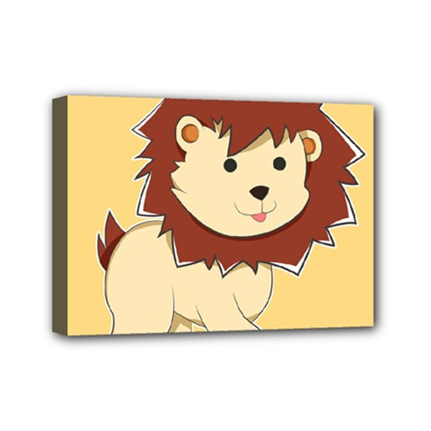 Happy Cartoon Baby Lion Mini Canvas 7  X 5  by Catifornia