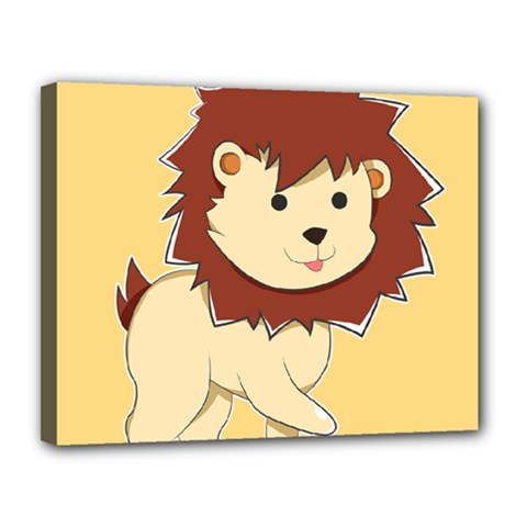 Happy Cartoon Baby Lion Canvas 14  X 11  by Catifornia