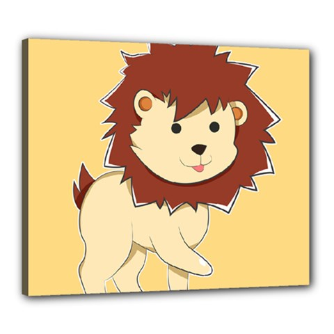 Happy Cartoon Baby Lion Canvas 24  X 20  by Catifornia